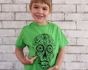 READY to SHIP Toddler 5/6 Day of the Dead Sugar Skull Children's TShirt, Calavera, Short Sleeved Youth Cotton Crewneck,  Bright Apple Green