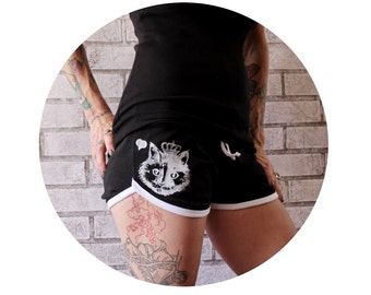 Princess Kitty Booty Shorts, Queen Cat,  Summer Clothing, Short Shorts, Hand Printed Screen-Printed Clothing, Animal Print, Roller Derby