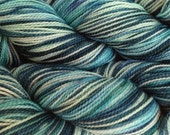 Fingering Weight Hand Painted Merino Wool Sock Yarn in Beach Glass Mint Green Blue Teal
