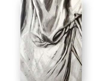 Original Charcoal Drawing, Classical Draped Fabric Study, Black and White, 18''x24'' on Paper