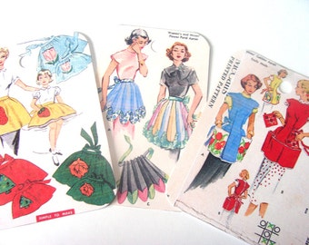 Retro Apron Tags - Set of 8  -  Vintage Aprons - Sewing Patterns - Kitchen Tags - Apron Fashions - Gift Tags - Thank Yous - Retro Aprons