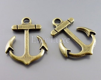 4 large ship anchor charms, antique style brass charms for making jewelry designs / craft supplies AN073-B-LG (An brass, Lg, 4 pieces)
