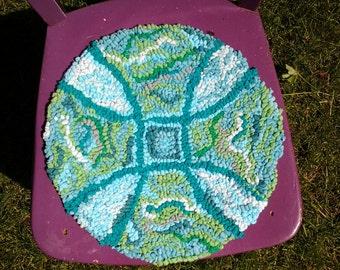 chair cushion ,rag rug ,seat cushion, seat pad, upcycled cushion,hooked cushion,recycled seat pad