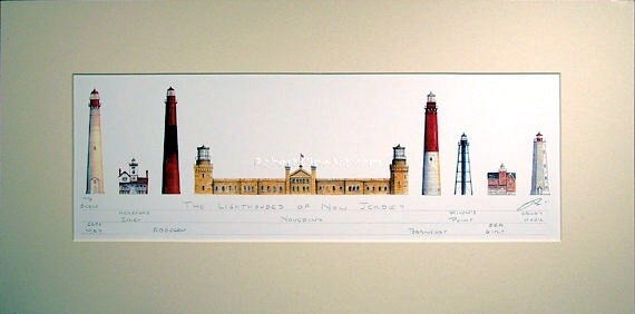 """Lighthouses of New Jersey Art Signed Robert Kline Matted 10"""" x 20"""" Print Cape May Sandy Hook Absecon Navesink Nautical Beach House Decor"""