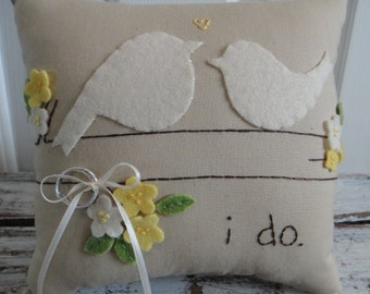 Custom Love Bird Vintage Style Ring Bearer Pillow in YOUR wedding colors
