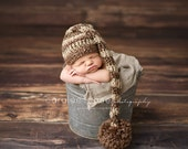 Elf Hat Photo Prop in Earth Brown and Cream Stripes