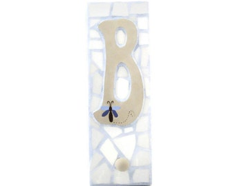 Mosaic Wall Hook - Letter B - Broken China - Peg Board - Coat Hanger - Personalized - Light Blue and Tan