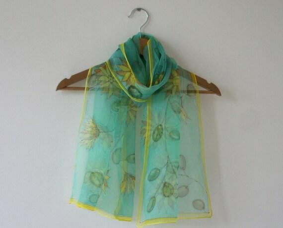 Hand painted silk chiffon scarf (OOAK aquamarine green blue yellow brown colors)