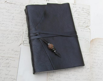 Rustic Brown Leather Journal with Beads and Toned Tan Paper