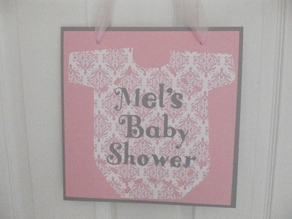 Items similar to door sign baby shower door sign pink for Baby shower door decoration