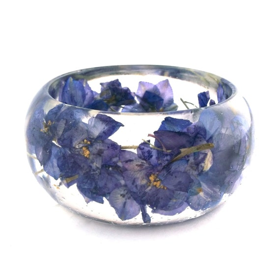 Size Medium Purple Botanical Resin Bangle. Bangle Bracelet.  Pressed Flower Resin Cuff.  Real Flowers - Purple Larkspur.  Engraved
