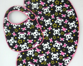 Girly Baby Skulls Burp Cloth and Baby Bib Set