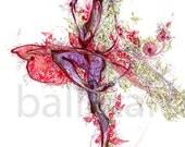 ballet art, vintage floral print, pink floral, art print, spring art, pink and green, spring painting, vintage style, hand drawing, dance