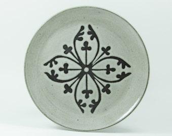 "Salad Plate 7"", Design- Irene, Antique White Glaze shown.   Made to Order"
