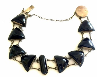 Rare Art Deco Sterling Silver Black Open Back Onyx Glass Geometric Vintage Art Deco Bracelet