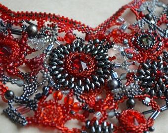 Tango - Red, Black and Gray statement freeform peyote seed beaded bib necklace. Prom, wedding, special occasion. Gothic wedding jewelry