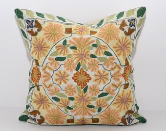 16x16 very beautiful pillow, fully hand silk embroidery cushion, oriental design, gold, cream, green
