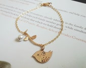 Gold plate bird personalized initial gold plate on branch pearl dangle. italic font stamping. great gift for bridemsids.