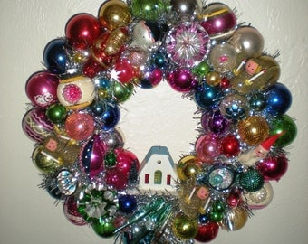 Christmas Kitsch Wreath - Vintage Christmas Ornament Wreath
