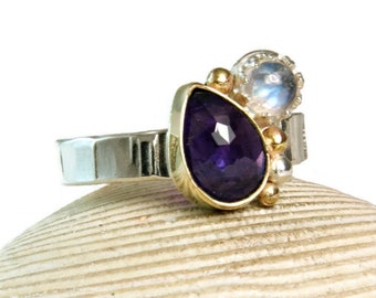 Double Stone Ring, Faceted Amethyst Ring, Yellow Gold, Rainbow Moonstone, Gemstone Jewelry