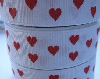 7/8 Red HEARTS On White Grosgrain Ribbon Making Hair Bow Supplies Printed Ribbon by the yard we sell Wholesale