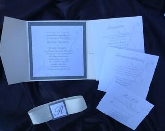 Swirls and Pearls Metallic Wedding Invitation Suite