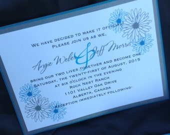 Daisy Bright Colored Invitation, RSVP, and Insert Cards