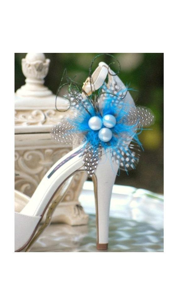 Wedding Shoe Clips Something Blue. Classy Polka Dot Feather Pearl. Big Day Bride Bridal Bridesmaid Elegant Edgy Aquamarine Turquoise Fashion