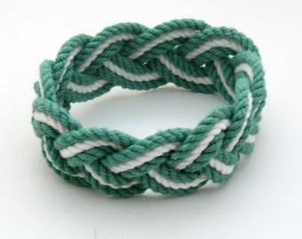 Surfer Rope Bracelet in Green and White Cotton Sailor Bracelet