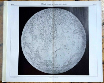 1930 map of the full moon surface original vintage celestial astronomy print -