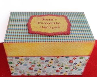 Recipe Box Personalized Retro Yellow and Red