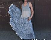LAST SALE 50% off!!!! under 50, BLUE melange full round rich strapless dress, evening skirt, Spanish dancer skirt