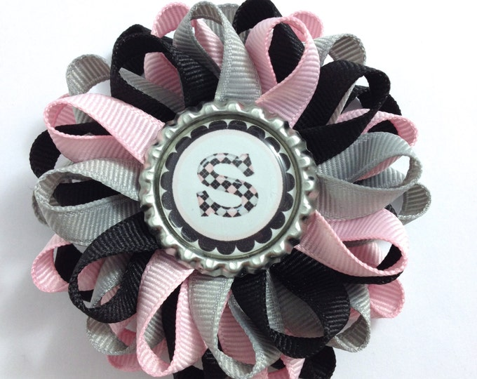 Pink, Silver & Black Initial Hair Bow