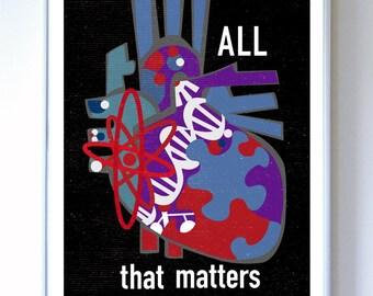 Heart - All That MattersScience Art Poster - Heart Illustration - Art Print - Stellar Science Series