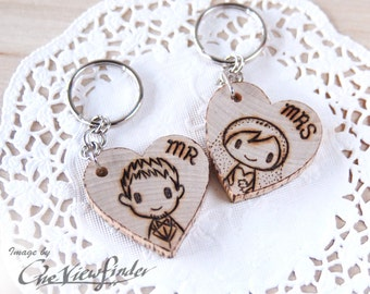 Wooden Heart Charms, wine charm, rustic heart, Mr & Mrs, keychain