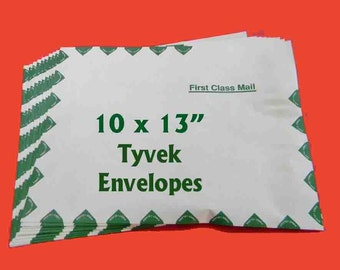 "10 Tyvek First Class Envelopes. Ten 10"" x 13"" Tyvek Mailers. 5205"