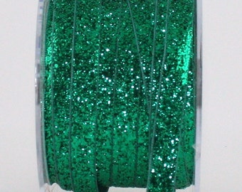 """Green Glitter Ribbon, 3/8"""" wide by the yard, Christmas Ribbon, Velvet Chokers, Weddings, Crafts, Sewing, Gift Wrapping, Party Supplies"""