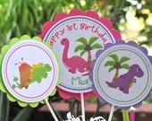 Girly Dinosaur party Centerpieces, set of 3