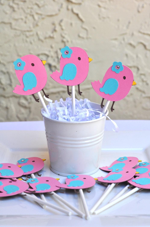 bird theme nesting baby shower birthday cupcake toppers set