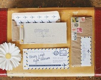 Ticket Wedding Invitation, Vintage linen layered Wedding Invitation, Wedding Suite, Destination Wedding