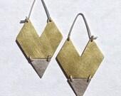 Geometric Heart Earrings (Bright Brass with Sterling Silver)