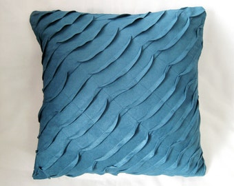 Misty Blue Ocean Wave Pillow Cover. Decorative Throw Cushion Cover. Modern Textured Pillow