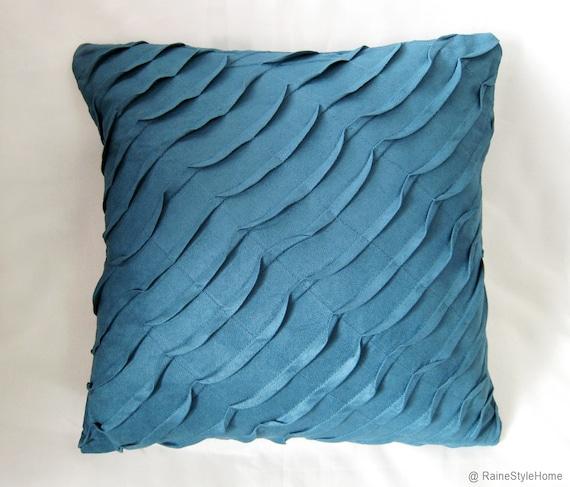 misty blue ocean wave pillow cover
