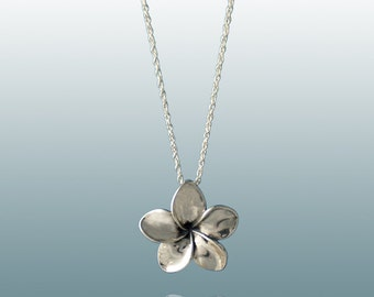 Plumeria Flower Pendant in Sterling Silver, Simple and Casual