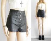 Leather Shorts High Waist Shorts Black Leather Shorts Nappa Leather Short High Waisted Shorts Vintage Club Kid Festival 90s Grunge waist 26