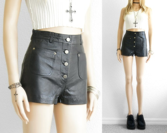 Leather Shorts High Waist Shorts Black Leather Shorts Nappa