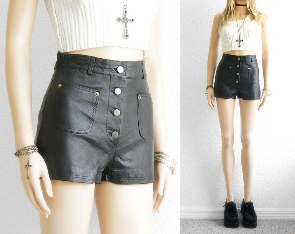 Leather Shorts High Waist Shorts Black Leather Shorts Nappa
