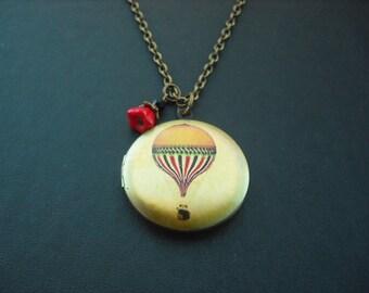 Locket Necklace, Antique Brass Locket Necklace with Hot Air Balloon Altered Photo Locket