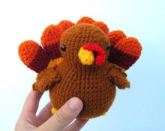 MADE to ORDER - Amigurumi Turkey - cute crochet thanksgiving turkey bird, crochet turkey, amigurumi turkey plush, crochet animal softie