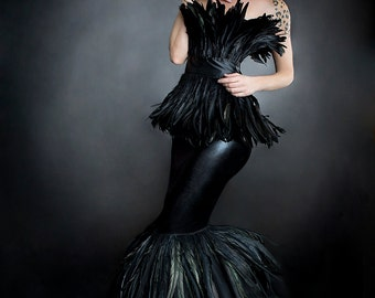 Custom Size Black Feather mermaid trumpet style tulle prom dress Small-XL